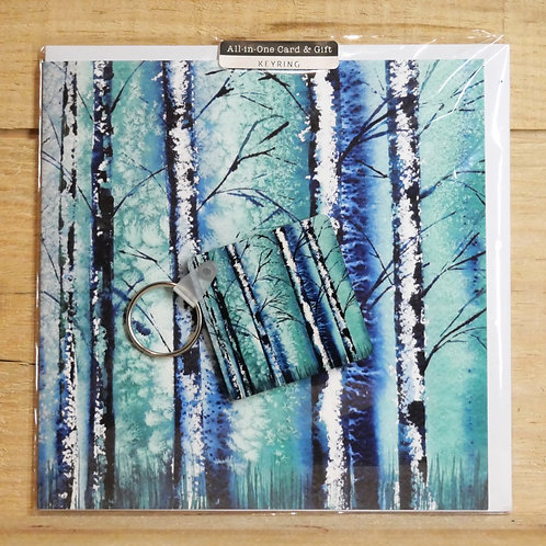 Silver Birch. Key ring and  printed card
