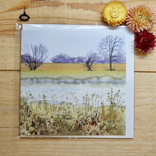 Sunset at Granchester Meadows Printed Cards 145mm square with envelope and cello