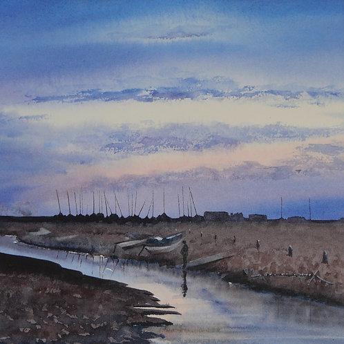 Blakeney at Sunset 2. Original Watercolour Painting