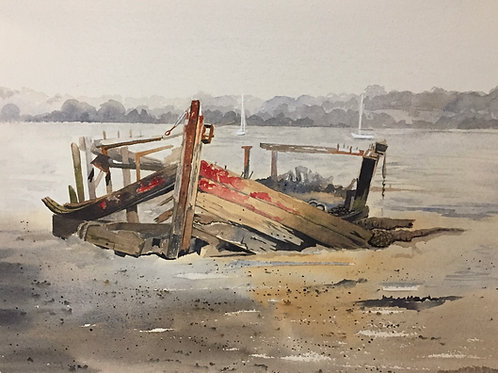 Wreck at Pin Mill. Original Watercolour Painting.