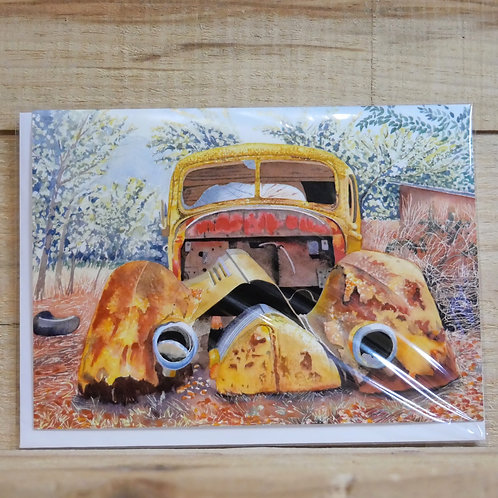Rusty car 'One careful owner'. Gift card