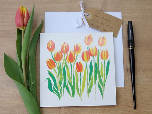 Dancing Tulips. Printed card