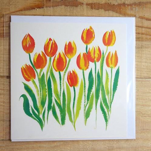 Dancing Tulips. Printed card