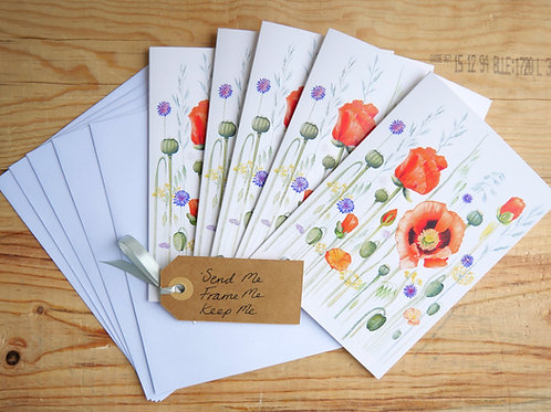 5 Poppy Cards. Blank inside for any occasion. Thank you, Birthday