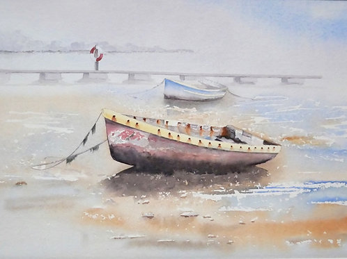 Boats at Pin Mill. Original Watercolour Painting.