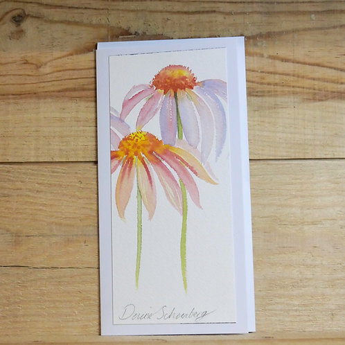 Hand painted original card -Echinacea