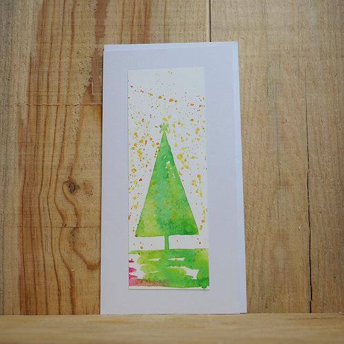 Hand painted original Christmas Tree Card