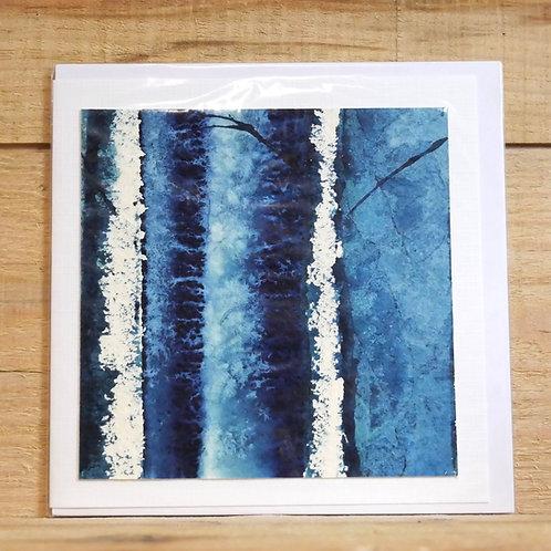 Hand painted original card - silver birch 2