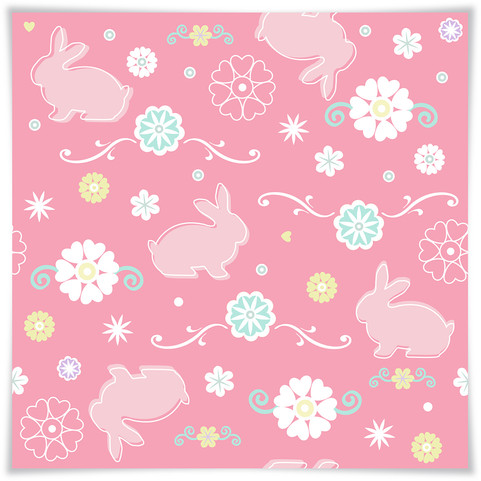 Floral Bunnies With Tag Square