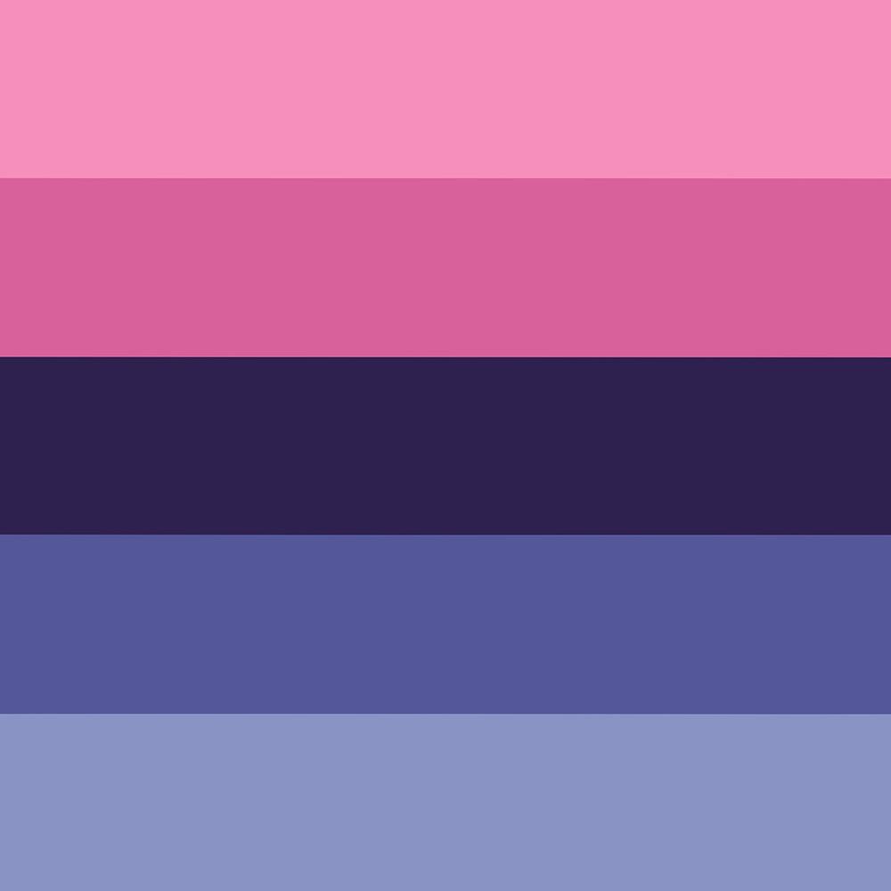 Fünf gleich grosse horizontale Streifen in den Farben (von Oben nach Unten) Hellrosa, Rosa, Lila, Blau, Hellblau.