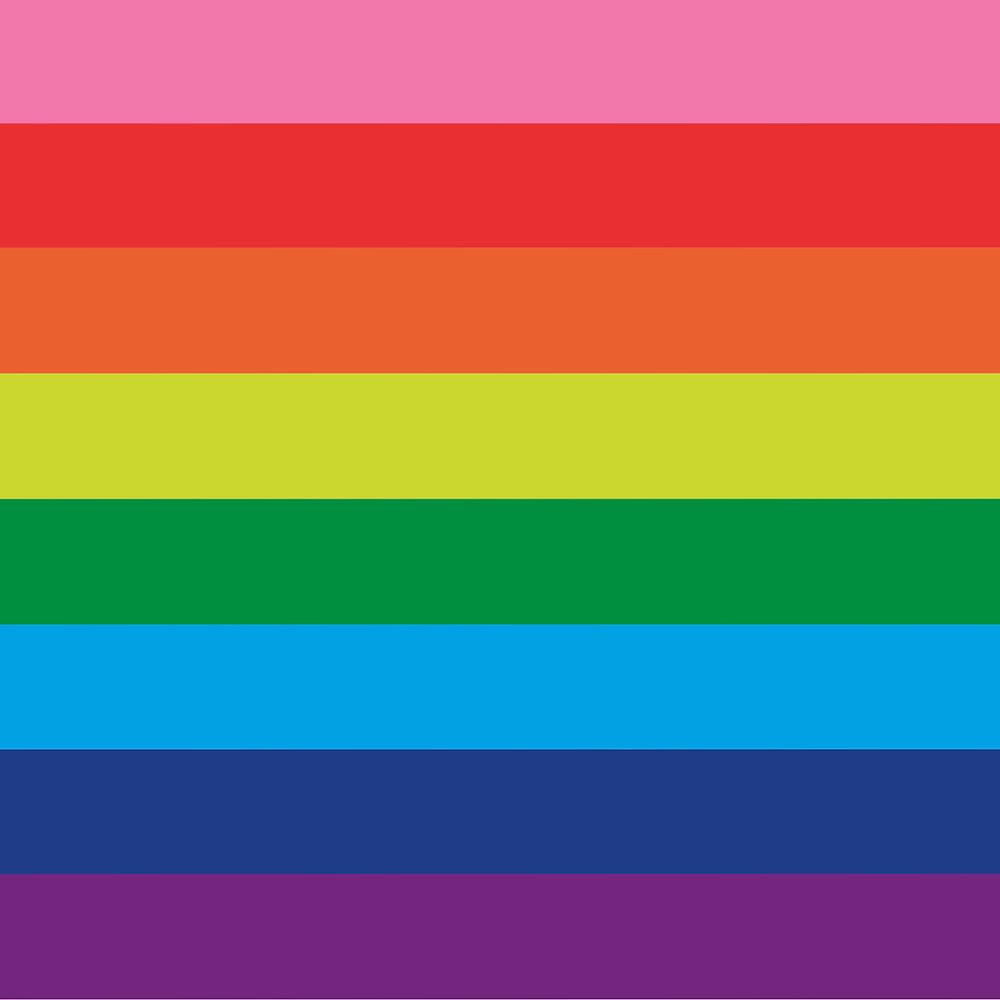 Horizontalangeordnet sind die Farben Rosa, Rot, Orange, Gelb, Grün, Hellblau/Türkis, Königsblau/Blau und Lila - ein bunter Regenbogen
