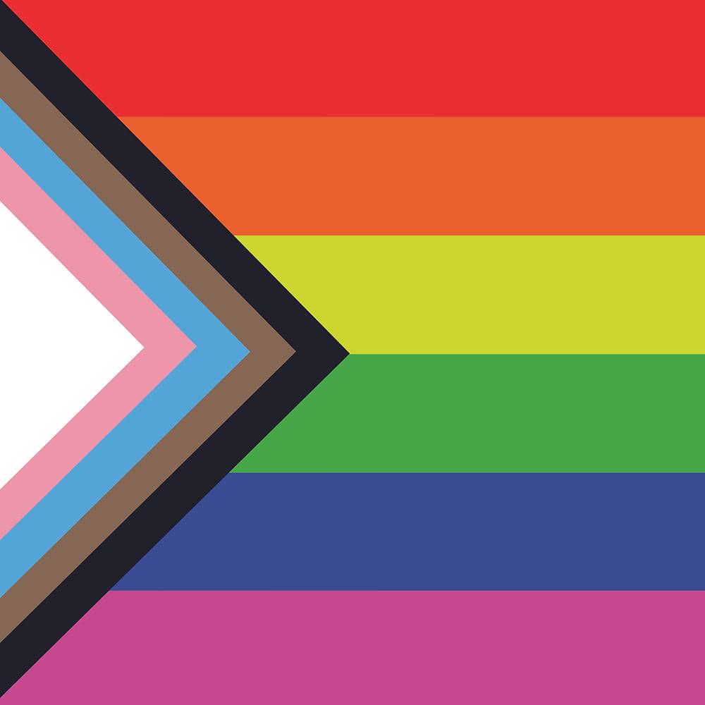 Die Fahne besteht aus der Regenbogenflagge in die von links ein Dreieck oder Keil in den Farben der Transflagge hineinläuft. Dieser Keil ist um die Farben Braun und Schwarz (von innen nach aussen) ergänzt worden.