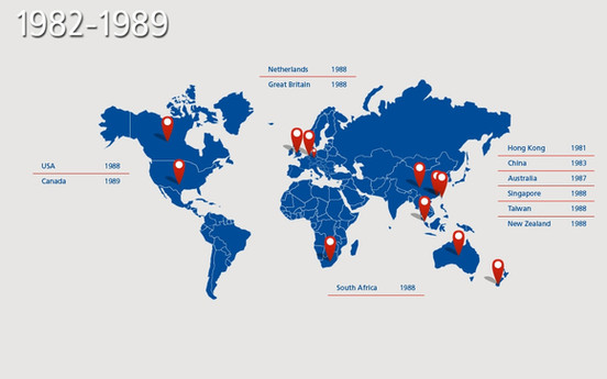 מאז הקמתה בשנת 1871, הלמן גדלה בהתמדה, כמו גם בקנה מידה עולמי, ובכך יצרה רשת עולמית של סניפים עולמיים בבעלותה.