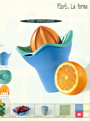 Spremiagrumi Florì per Gio'Style. Pubblicità sulle maggiori riviste.  Design Marco Maggioni, 1996  Florì orange juicer for Gio'Style. Advertising page.  Design Marco Maggioni, 1996