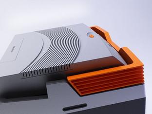 Frigo elettrico portatile prodotto da Gio'Style.  Design Marco Maggioni, 2014  Portable electric fridge produced by Gio'Style.  Design Marco Maggioni, 2014
