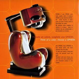 Sphera poltrona per abbronzatura UVA, prodotta da P&G Solarim.  Design Marco Maggioni, 2006  Sphera UVA tanning chair, produced by P&G Solarim.  Design Marco Maggioni, 2006
