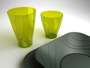 X-Table collezione piatti e bicchieri monouso per DoPla.  Design Marco Maggioni, 2013  X-Table disposable dishes and glasses collection for DoPla.  Design Marco Maggioni, 2013