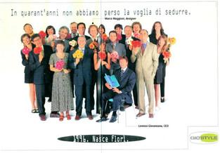 Campagna pubblicitaria lancio linea Florì, 1996.  Florì line advertising campaign, 1996.