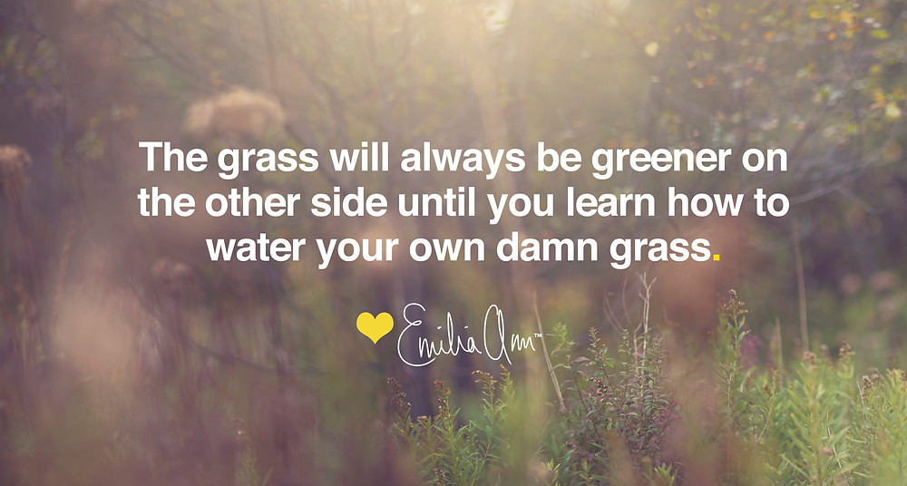 The grass will always be greener on the other side until you learn how to water your own damn grass - Emilia Ann