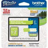 """Brother TZeMQG35 12mm (0.47"""") White on Lime Green tape for P-touch 5m (16.4 ft)"""