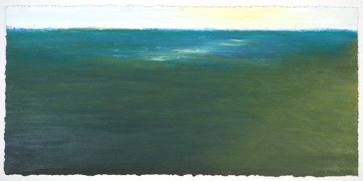 "Looking North # 19, 2020. 10.5"" x 22"", Oil stick on paper."