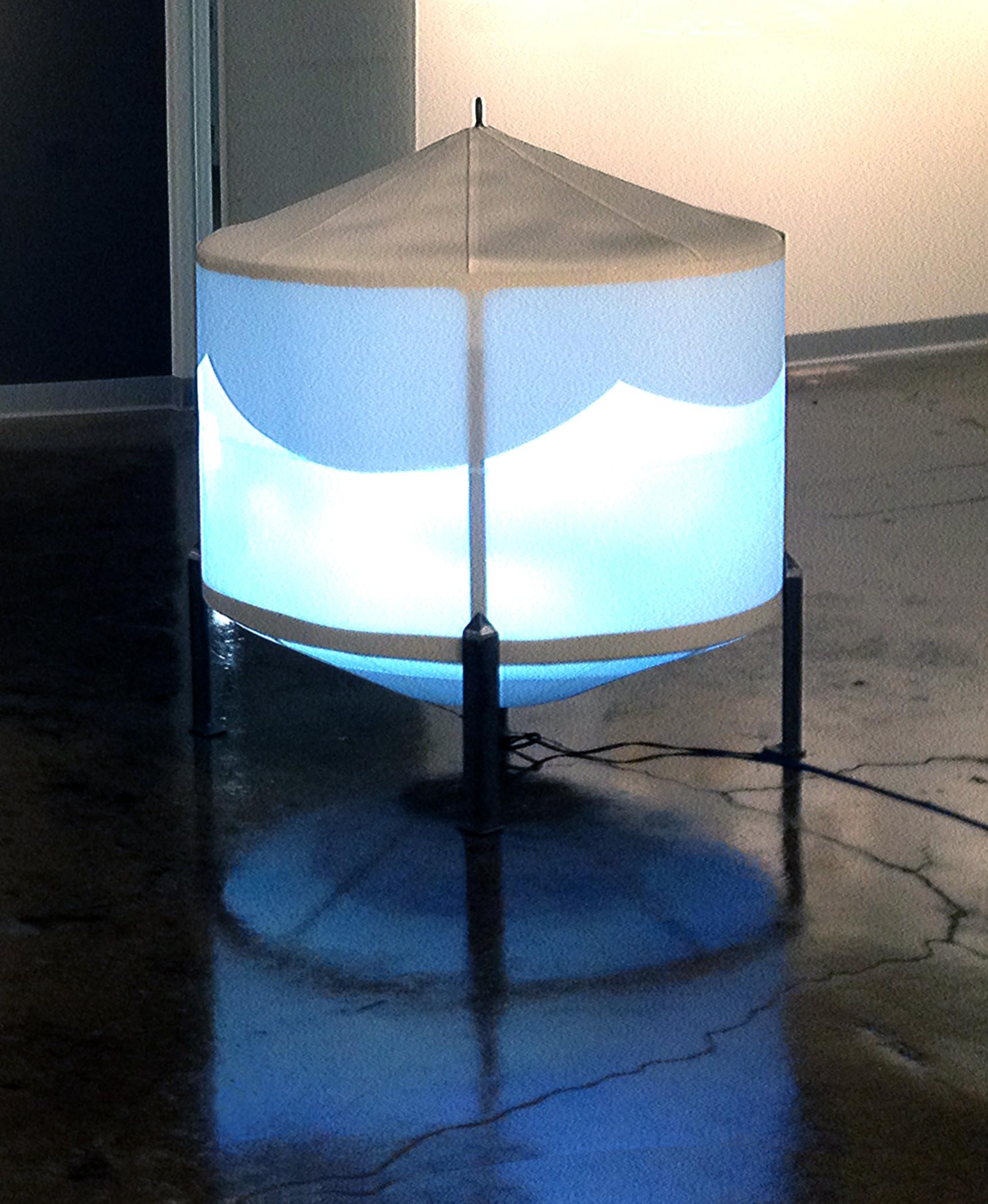 ) Loci of Potential/Site of Drifting Detail: Video Hopper. 2016. Vinyl conveyor belt, steel, projector, mirror plexiglass.  App. 3' Ht x 3' D.