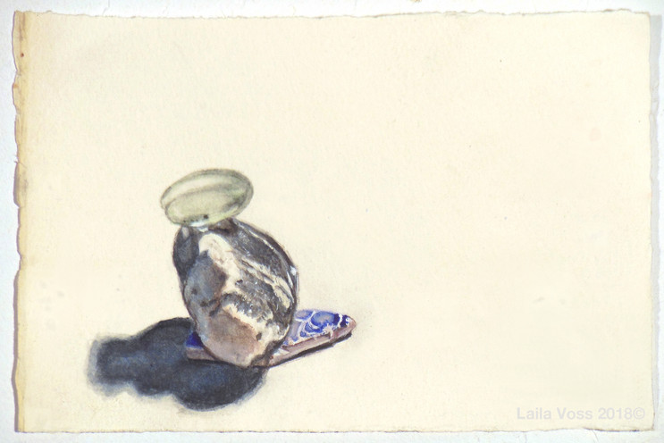 """My Year Without A Studio #13, 2017-18, 4"""" x6"""". Watercolor on paper."""