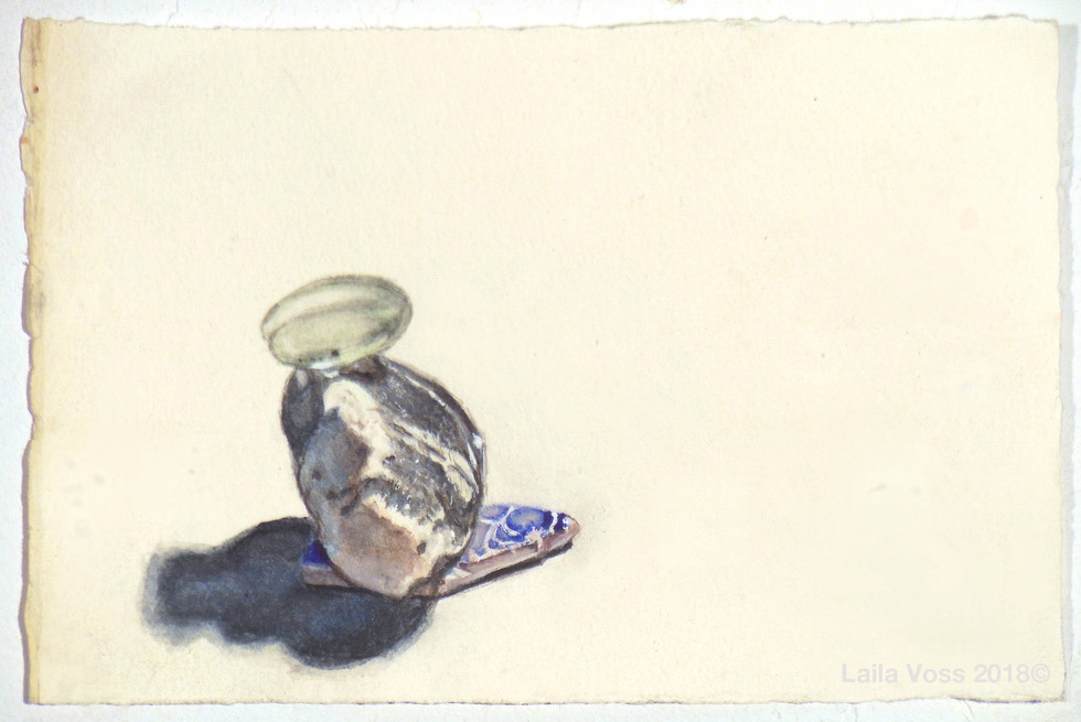 "My Year Without A Studio #13, 2017-18, 4"" x6"". Watercolor on paper."