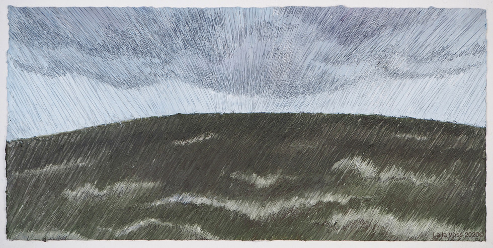"""Looking North # 11, 2020. 10. 75"""" x 22"""", Oil stick on paper."""