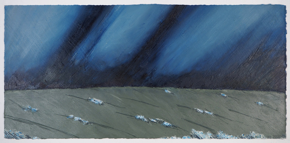 """Looking North # 14, 2020. 10.5"""" x 22"""", Oil stick on paper."""