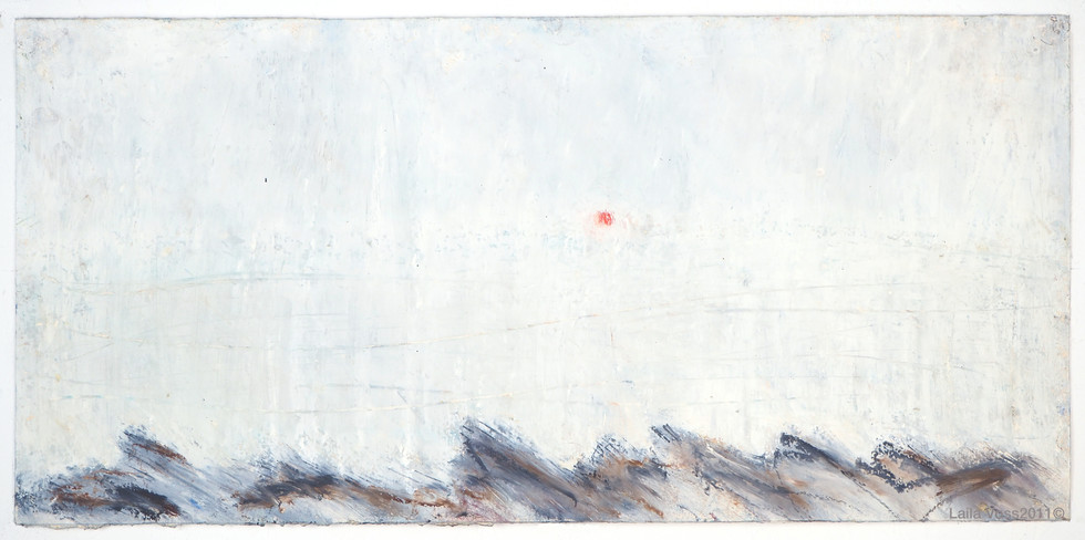 """Looking North # 1, 2011. 10.5"""" x 22"""", Oil stick on paper."""