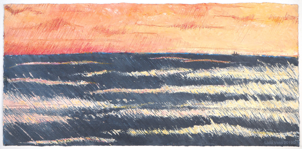 """Looking North # 10, 2019-20. 10.5"""" x 22"""", Oil stick on paper."""