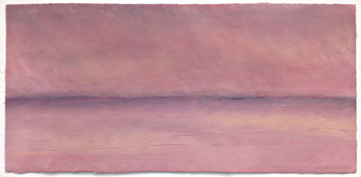 "Looking North # 3, 2019. 10.5"" x 22"", Oil stick on paper."