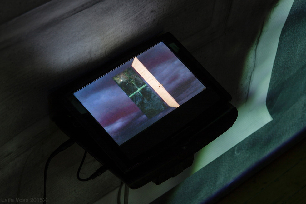 Searching for that Sound Piece Detail 2. DVD player,video still. This video was composed in response to the soundscape that is a composition of four movements using manipulated, isolated, and recombined field recordings that include high voltage machinery, traffic, drips, breathing. Photo credit: Jerry Mann.