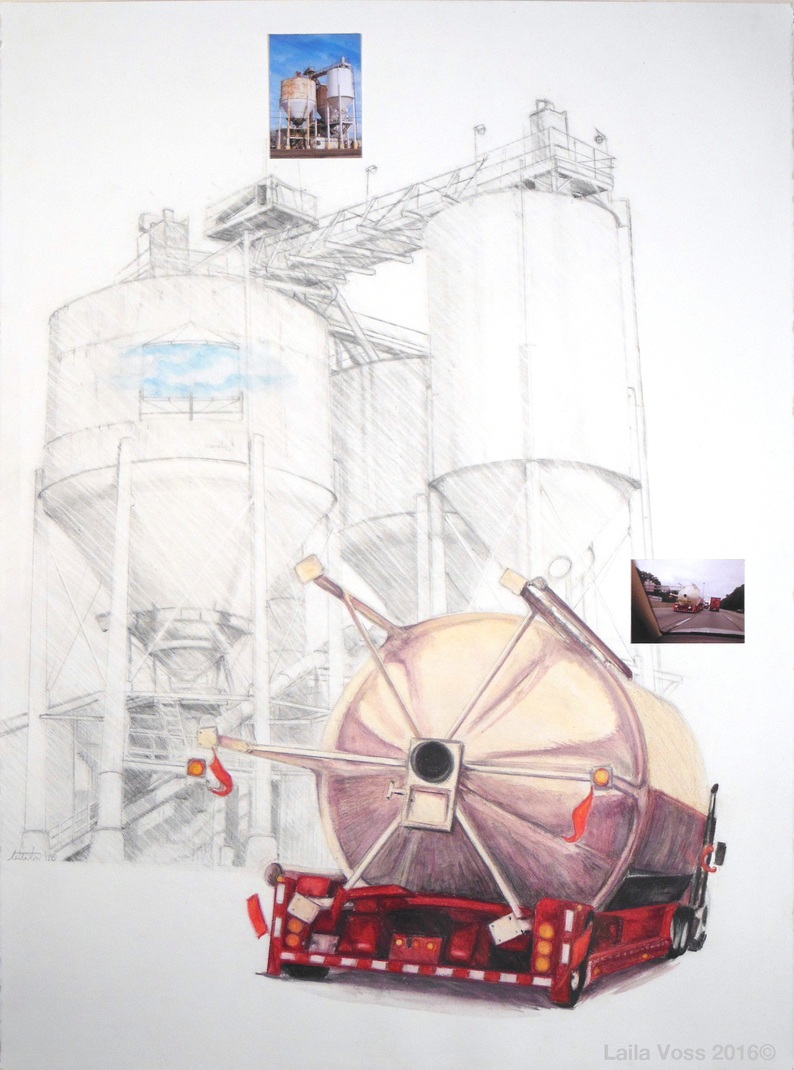 """Locus of Potential/Site of Drifting 5. 2016. Graphite, watercolor pencils, photographs on American Masters paper. 30"""" x 22""""."""