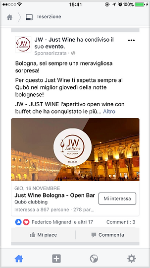 Gestione campagne Adv pagine social Just Wine