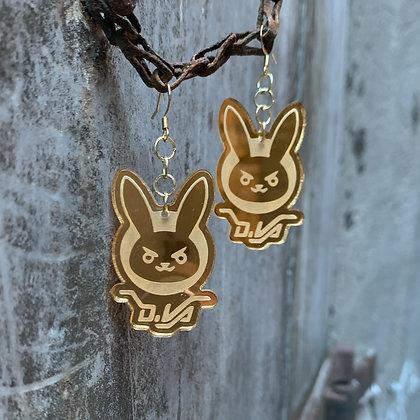 Gold Overwatch D.Va Earrings