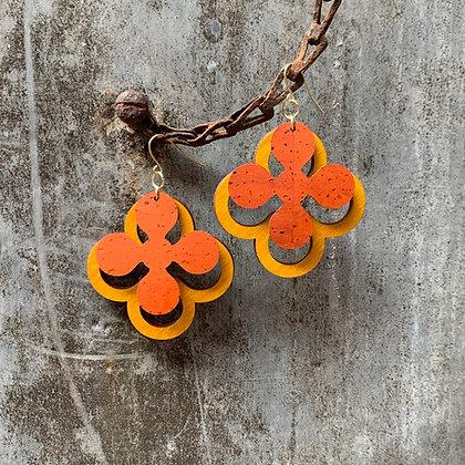 Pumpkin & Sunflower Clover Earrings