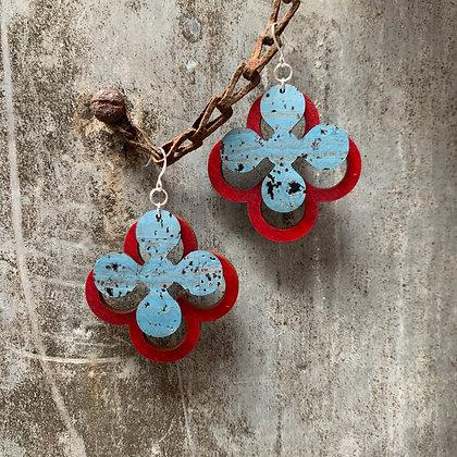Denim & Cardinal Clover Earrings