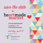 "The background is mauve and the text is stacked on the left. It says ""Save the date"" in red script On the next line is ""for Heartmade Market"" in red and black. ""at main street square in the heart of downtown houston"" is listed on the next line, also in red and black. Directly below that is the text ""Saturday April 25"" in red script. The next line says ""with our event partner"" in black with the Downtown District logo underneath. The Downtown District logo includes geometric mutli-colored squares and downtownhouston.org in black. The whole right side of the photo is a repeating geometric triangle pattern in pastel colors with a red heart over it."