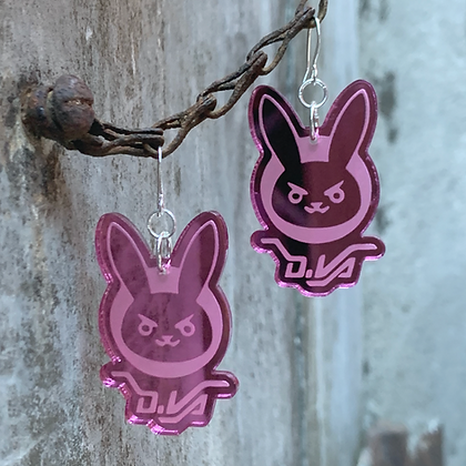 Pink Overwatch D.Va Earrings