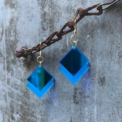 Blue Mirror Diamond Earrings