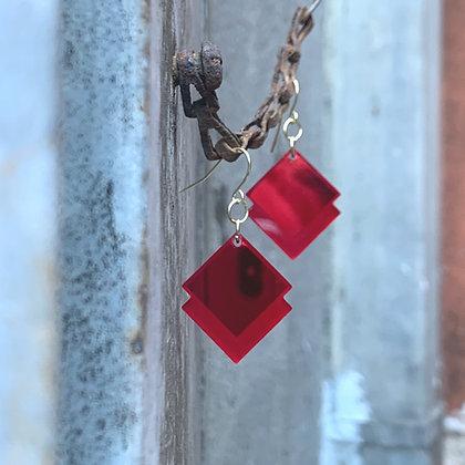 Red Mirror Diamond Earrings