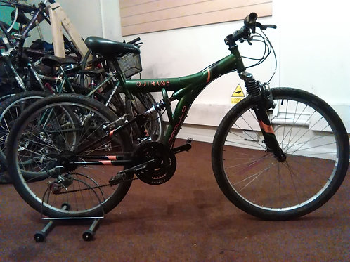 APOLLO OUTRAGE 26 INCH WHEELS GREEN/BLACK 18 SPEED FULL SUS GOOD CON