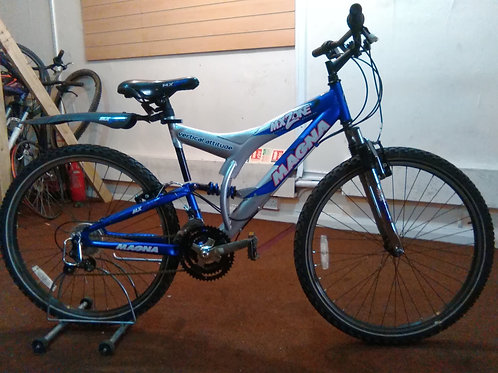 MAGNA MXZONE 26 INCH SILVER/BLUE 21 SPEED FULL SUS GOOD CONDITION
