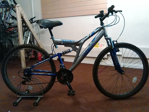 BRITISH EAGLE TRAILBREAKER 26 INCH WHEEL FULL SUS 18 SPEED GREY/BLUE GOOD CON