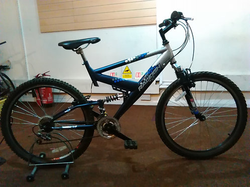 RALEIGH VULTURE 26 INCH WHEEL SILVER/BLUE FULL SUS 18 SPEED GOOD CONDITION