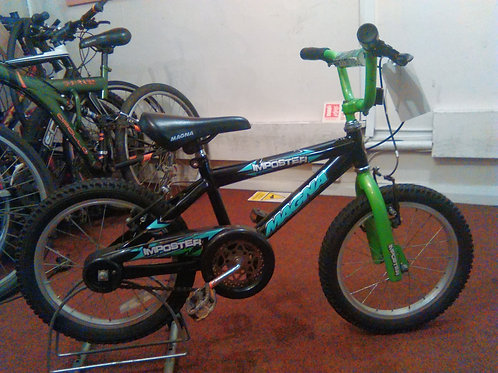 MAGNA IMPOSTER BMX STYLE 16 INCH WHEEL GREEN/BLACK GOOD CONDITION