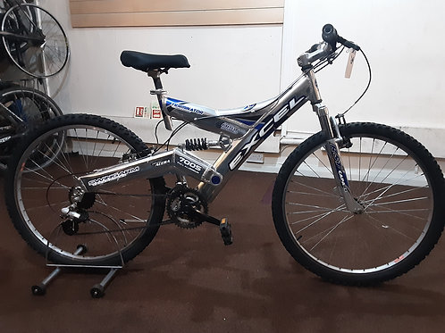 EXCEL TERMINATOR 26 INCH WHEEL FULL SUS ALLOY 18 SPEED SILVER GOOD CONDITION
