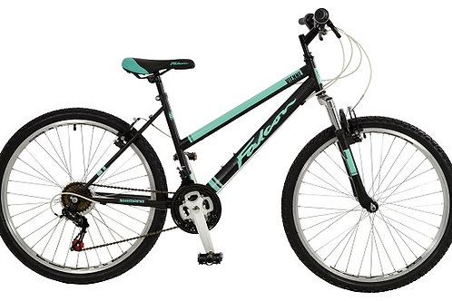 FALCON VIENNE 26 INCH WHEEL 17 INCH FRAME BLACK/TEAL FRONT SUSPENSION